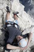 Mountaineer on the summit of Jalovec peak in Julian alps - Slovenia — Stock Photo