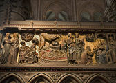 Paris - reliefs from Jesus life - Notre-Dame cathedral — Stock Photo