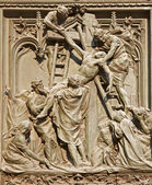 Milan - detail from main bronze gate - deposition from the cross — Stock Photo