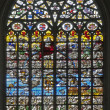 BRUSSELS - JUNE 22: Last judgment (1528). Windowpane in Saint Michael and Saint Gudula gothic cathedral by unknown authors on June 22, 2012 in Brussels. — Stock Photo