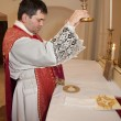 Stock Photo: Priest with cap at tridentine mass - transfiguration