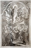 Eslováquia - 1727: ascensão de jesus. litografia imprimir em missale romanum publicado pela augustae vindelicorum no ano 1727. — Fotografia Stock