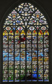 брюссель - 22 июня: страшный суд (1528). оконное стекло в святого михаила и гудула готический собор святого неизвестными авторами 22 июня 2012 года в брюсселе. — Стоковое фото