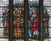 BRUSSELS - JUNE 22: Jesus benedicte the Apostle from windowpane of National Basilica of the Sacred Heart built between years 1919 - 1969 on June 22, 2012 in Brussels. — Stock Photo