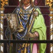 MARIANKA - DECEMBER 6: Saint Stephen king of Hungary. Detail of windowpane in  holy shrine Marianka from west Slovakia on December 6, 2012 in Marianka, Slovakia. - 图库照片
