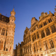 Brussels - The facade of Grand palace palaces from main square in evening light. Grote Markt. — Stock Photo