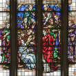 BRUSSELS - JUNE 22: Miracle of The paralytic's recovery from windowpane of National Basilica of the Sacred Heart built between years 1919 - 1969 on June 22, 2012 in Brussels. - Stok fotoğraf