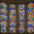BRUSSELS - JUNE 22: Scene from Jesus life . Windowpane from side chapel of National Basilica of the Sacred Heart built between years 1919 - 1969 on June 22, 2012 in Brussels. - Stok fotoğraf