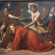 BRUSSELS - JUNE 21: The First Fall of Jesus on the cross way. Paint from church Notre Dame du Finstere by Albert Roberti from 1851 on June 21, 2012 in Brussels. — Stock Photo #18578645
