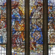 BRUSSELS - JUNE 22: Gathering of the Manna. Scene from Old Testament. Detail from windowpane of National Basilica of the Sacred Heart built between years 1919 - 1969 on June 22, 2012 in Brussels. - Stok fotoğraf
