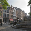 Stock Photo: Brussels - Grasmarkt and Charles Buls fountain in morning light.