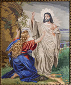 MARIANKA - DECEMBER 4: Tapestry of Apparition of resurrected Jesus to Mary of Magdalene in parish building of Marianka cirka 1950 on December 4, 2012 in Marianka, Slovakia. — Stock Photo