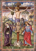 SLOVAKIA - 1937: Crucifixion of Jesus - Virgin Mary and Saint John the Evangelist. Lithography print in Missale romanum painted by Umbrica school published by Friderici Pustet in year 1937. — Stock Photo