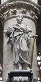 BRUSSELS - JUNE 22: Statue of st. Jude Taddeus by sculptor Jerome Duquesnoy le Jeune from year 1644 from gothic cathedral of Saint Michael and Saint Gudula on June 22, 2012 in Brussels. — Stock Photo