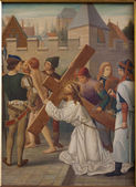 BRUSSELS - JUNE 25: Jesus Carries His Cross. Paint from st. Niklas and Jean s church on June 25, 2012 in Brussels, Belgium. — Stock Photo