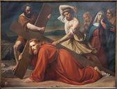 Bryssel - 21 juni: först nedgången av jesus på korset sätt. måla från kyrkan notre dame du finstere av albert roberti från 1851 21 juni 2012 i bryssel. — Stockfoto