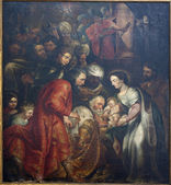 BRUSSELS - JUNE 21: Adoration of The Magi by painter L. Vosterman from Saint John the Baptist church on June 21, 2012 in Brussels. — Stock Photo