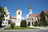 Levoca - Townhall and Saint Jacob s church — Stock Photo