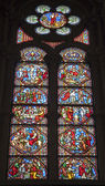 BRUSSELS - JUNE 22: Scene from Jesus life on the windowpane in Saint Michael and Saint Gudula gothic cathedral. Right side of choir restoted in years 1990 to 1999 on June 22, 2012 in Brussels. — Stock Photo