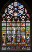 BRUSSELS - JUNE 22: Windowpane in Saint Michael and Saint Gudula gothic cathedral by J.B. Capronnier from 19th century on June 22, 2012 in Brussels. — Stock Photo