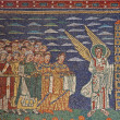 ROME - MARCH 22: Old mosaic of angels and saint in heaven from apsidal arch from 9. cent. in Basilica di Santa Prassede on March 22, 2012 in Rome. - Stock Photo