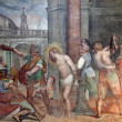 Rome - freco of Flagellation of Christ from Santa Prassede church - Stok fotoğraf