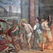 Rome - freco of Flagellation of Christ from Santa Prassede church - Stock Photo