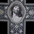 Jesus Christ face on the catholic funeral vestment - Stok fotoğraf