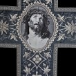 Jesus Christ face on the catholic funeral vestment - Stockfoto