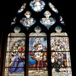 Paris - windowpane from Sanit Severin gothic church - Christmas — Stock Photo