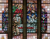 BRUSSELS - JUNE 22: Jesus Resurrecting the Son of the Widow of Naim. Detail from windowpane of National Basilica of the Sacred Heart built between years 1919 - 1969 on June 22, 2012 in Brussels. — Stock Photo