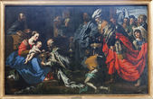 BRUSSELS - JUNE 21: Adoration of The Magi by painter Theodor van Loon from 17. cent. in the Saint Nicholas church on June 21, 2012 in Brussels. — Stock Photo