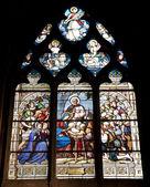 париж - оконное стекло от санит северин готическая церковь - рождество — Стоковое фото