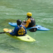 Kayakers on ybs river - Austria - Stock Photo