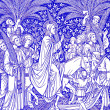Palm Sundy scene in blue - old catholic liturgy book — Stock Photo
