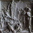 Paris - Bronze relief from gate of Madeleine church - old testament scene of David s sin - Stock Photo