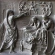 Paris - Bronze relief from gate of Madeleine church - old testament scene - Stock Photo