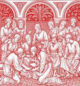 Mytí nohou v červené barvě - staré katolické liturgie kniha — Stock fotografie