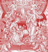 Nativity scene from old catholic liturgy book in red — Stockfoto