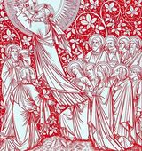 The Ascension in red - colored from old catholic lithurgy book — Stock Photo