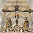 KOSICE - JANUARY 3: Carved cross and Virgin Mary ans st. John statue from year 1420 in Saint Elizabeth gothic cathedral on January 3, 2013 in Kosice, Slovakia. — Stock Photo