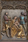 Kosice - 3 janvier : soulagement de la scène des trois rois mages sur l'autel du côté du 17. cent. dans la cathédrale gothique saint elizabeth sur 3 janvier 2013 à kosice, slovaquie. — Foto de Stock