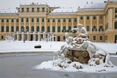 Vienna - Schonbrunn palace and fountain in winter — Stock Photo