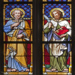 ������, ������: KOSICE JANUARY 3: Windowpane of Saint Elizabeth gothic cathedral The apostle Peter and Bartholomew on January 3 2013 in Kosice Slovakia