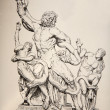 Germany - 1897: Lithography of  statue Group of Laocoon originaly form  Vatican museums. The book Atlas zur Archeologie der Kunst published by Oskar Beck in Munchen, Germany 1897. — Stock Photo