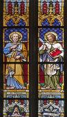 KOSICE - JANUARY 3: Windowpane of Saint Elizabeth gothic cathedral. The apostle Peter and Bartholomew on January 3, 2013 in Kosice, Slovakia. — Stock Photo