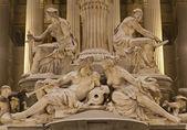 维也纳-帕拉斯雅典娜喷泉和议会在冬天的晚上的细节 — 图库照片