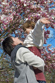 Mather and daughter - spring — Stock Photo