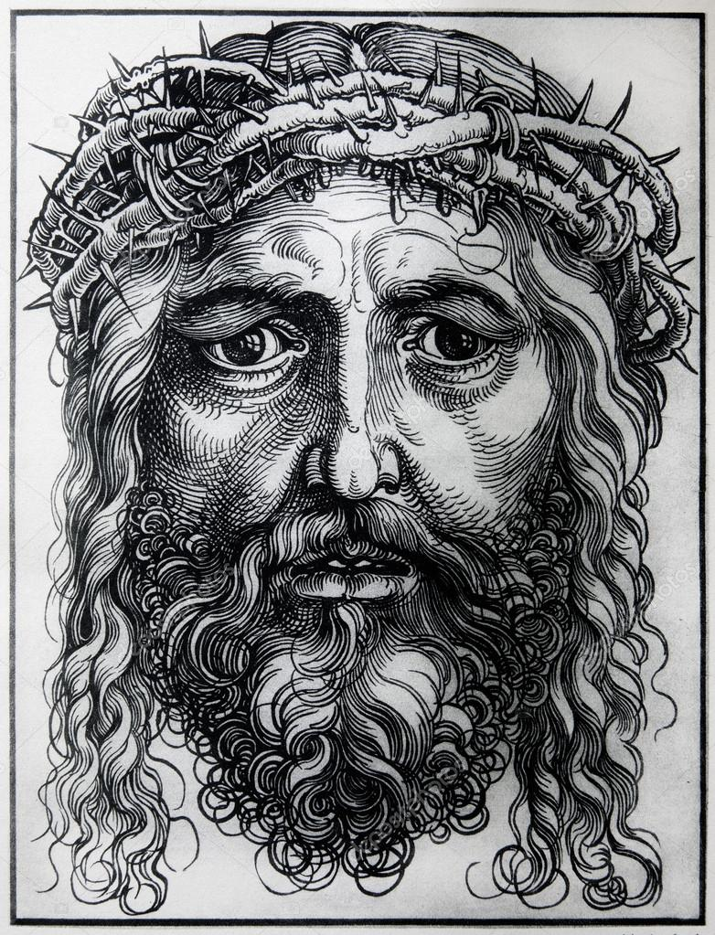 "GERMANY - 1928: Lithography of Head of Jesus Christ by Albert Durer. Book "" Durer als Fuhrer"" published by Josef Muller, Munchen, Garmany 1928. - depositphotos_19031801-GERMANY---1928-Lithography-of-Head-of-Jesus-Christ-by-Albert-Durer.-Book--Durer-als-Fuhrer-published-by-Josef-Muller-Munchen-Garmany-1928"