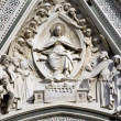 Hl. Mary - detail from protal of cathedral of Santa Maria del Fiore - west facade - 图库照片